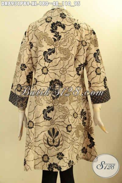 Batik Dress Solo Jawa Tengah Nan Istimewa, Busana Batik Modern Desain Kekinian Berpadu Motif Elegan Nan Mewah Proses Printing Cabut, Baju Batik Kerah Langsung Lengan 3/4, Pas Untuk Kerja Maupun Kondangan