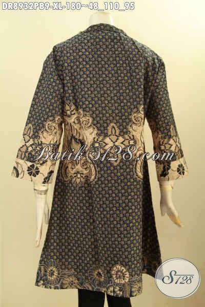 Dress Batik Elegan Lengan 3/4, Busana Batik Solo Halus Kerah Langsung Motif Klasik Printing Cabut Kwalitas Premium Di Lengkapi Resleting Depan Dan Aksesoris Di Bagian Depan Hanya 180K