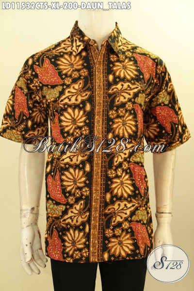 Kemeja Batik Pria Dewasa Motif Daun Talas, Busana Batik Modis Model Terbaru Lengan Pendek Proses Cap Tulis, Istimewa Untuk Acara Santai Maupun Resmi