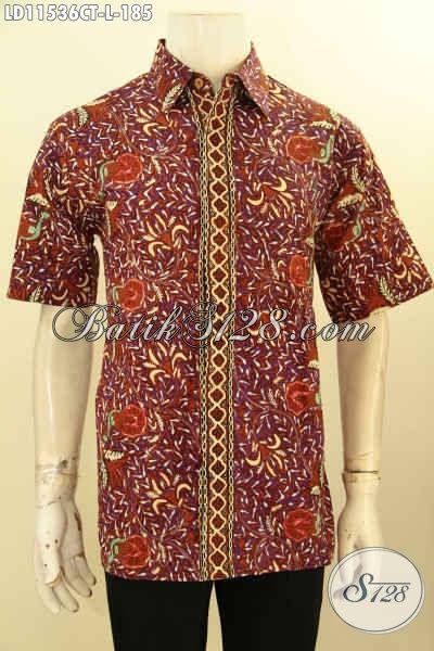 Jual Busana Batik Cowok Lengan Pendek Motif Bagus, Hem Batik Elegan Proses Cap Tulis Yang Bisa Di Pakai Santai Dan resmi, Penampilan Lebih Menawan