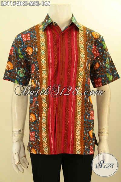 Batik Hem Pria Paling Baru, Busana Batik Elegan Motif Kombinasi Proses Cap Tulis Model Lengan Pendek, Bisa Buat Ngantor Dan Jalan-Jalan