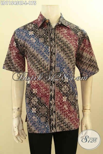 Jual Online Baju Batik Pria Modis, Kemeja Batik Kekinian Buatan Solo Asli Model Lengan Pendek Motif Bagus Kwalitas Istimewa Proses Cap Tulis, Cocok BUat Ngantor