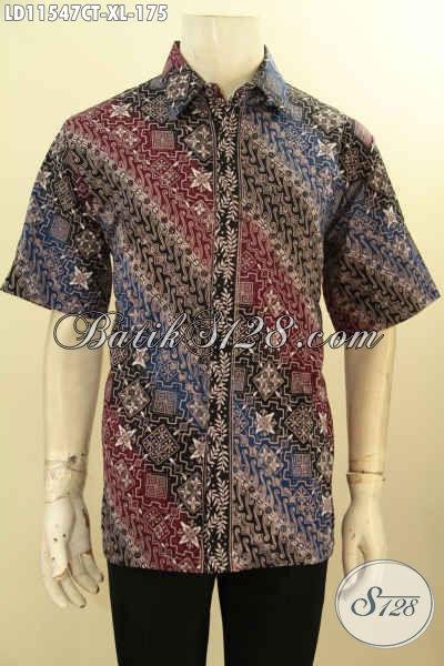 Baju Kemeja Batik Motif Klasik Warna Elegan Dan Berkelas, Busana Batik Solo Masa Kini Lengan Pendek Ukuran XL Pria Dewasa, Cocok Banget Buat Kondangan Dan Kerja
