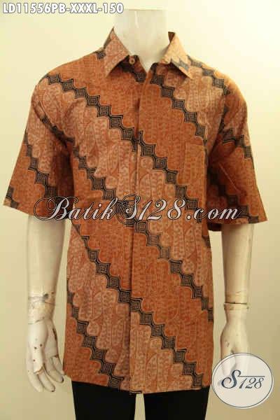 Jual Kemeja Batik Untuk Pria Gemuk Sekali, Busana Batik Elegan Lengan Pendek Motif Klasik Bahan Halus Proses Printing, Penampilan Elegan Dan Istimewa