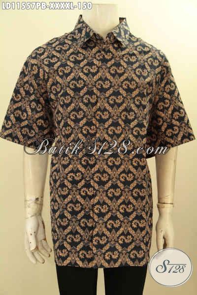 Kemeja Batik Solo Pria Ukuran L5, Pakaian Batik Modis Halus Lengan Pendek Motif Elegan Proses Printing Cabut, Pas Banget Buat Kondangan Ataupu Seragam Kerja