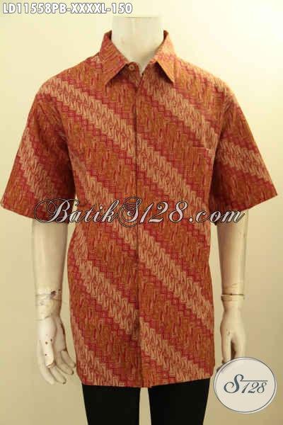 Jual Busana Batik Pria Gemuk Sekali, Baju Batik Lengan Pendek Klasik Kwalitas Istimewa Bahan Adem Proses Printing, Istimewa Buat Kondangan Dan Acara Resmi Lainnya