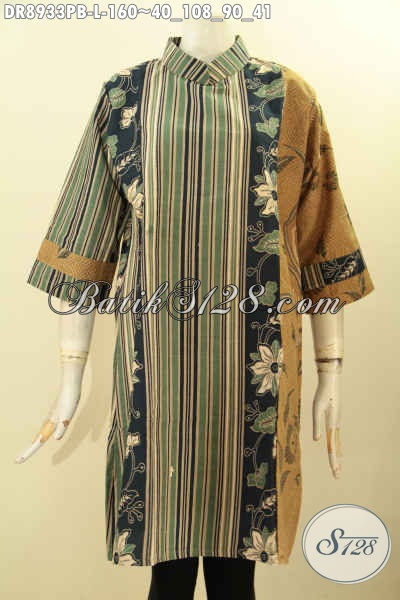 Busana Batik Elegan Untuk Wanita Masa Kini, Pakaian Batik Cantik Nan Berkelas Dengan Motif Bagus Proses Printing Cabut Model Kerah Shanghai Lengan 7/8 Pakai Resleting Belakang