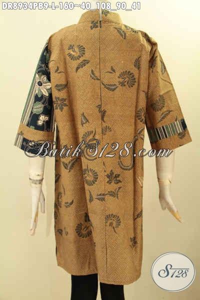 Dress Batik Mewah Nan Berkelas Model Kerah Shanghai Lengan 7/8, Busana Batik Istimewa Di Lengkapi Resleting Belakang Lebih Nyaman Ketika Di Pakai Harga 160K