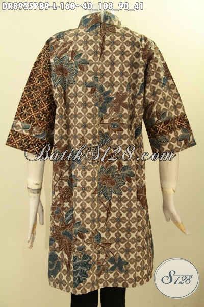 Pakaian Batik Motif Kombinasi, Dress Batik Solo Terkini Lengan 7/8 Kerah Shanghai Bahan Halus Di Lengkapi Resleting Belakang, Tampil Lebih Berkelas [DR8935PB-L]