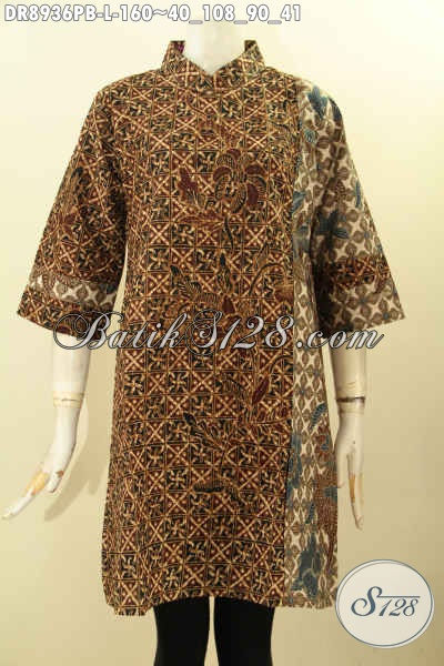 Sedia Pakaian Batik Dress Solo Asli, Hadir Dengan Resleting Belakang Kerah Model Shanghai Serta Lengan 7/8 Berpadu Motif Elegan Printing Cabut, Penampilan Anggun Menawan