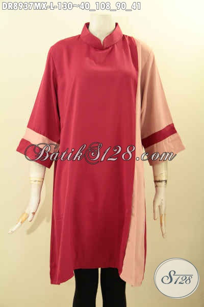 Dress Cantik Bahan Kain Polos Maxmara, Busana Wanita Modern Untuk Tampil Cantik Mempesona Model Kerah Shanghai Lengan 7/8 Pakai Resleting Belakang