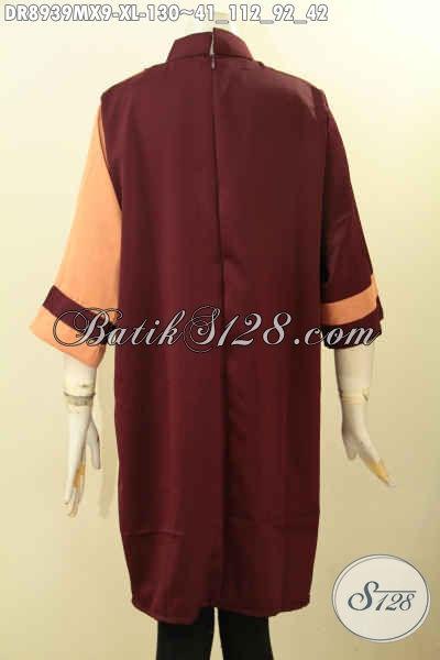 Pakaian Dress Spesial Untuk Wanita Modern, Hadir Dengan Lengan 7/8 Kerah Shanghai Warna Bagus Di Lengkapi Resleting Belakang, Penampilan Anggun Dan Gaya