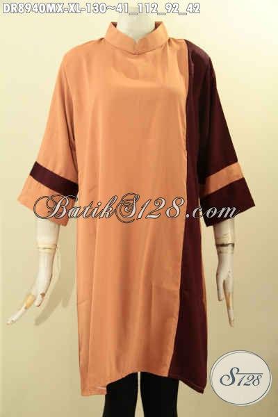 Baju Dress Nan Modis Bahan Halus Kain Polos Maxmara, Pakaian Kerja Kekinian Untuk Wanita Dewasa Karir Aktif, Penampilan Terlihat Cantik Mempesona [DR8940MX-XL]