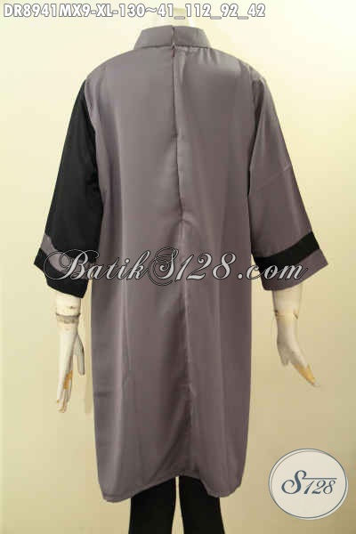 Jual Online Baju Dress Modern Lengan 7/8, Busana Wanita Untuk Penampilan Lebih Percaya Diri Desain Kerah Shanghai Dan Pakai Resleting Belakang Bahan Kain Polos Maxmara Harga 130K