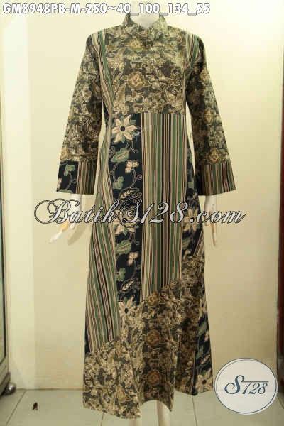 Gamis Batik Wanita Muda Desain Mewah Berkelas, Produk Pakaian Batk Wanita Berhijab Yang Membuat Penampilan Anggun Dan Cantik Maksimal Hanya 250K [GM8948PB-M]