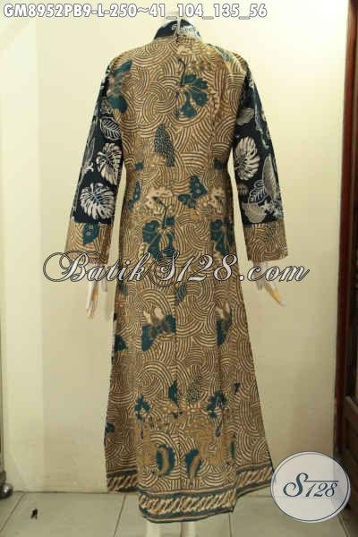 Busana Gamis Batik Solo Elegan Desain Kerah Shanghai, Baju Batik Istimewa Buat Wanita Berjilbab Untuk Tampil Cantik Syar'i Dengan Harga Terjangkau [GM8952PB-L]