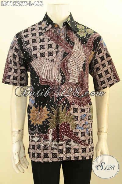 Batik Hem Pria Kantoran, Busana Batik Kerja Motif Bagus Tulis Asli Bahan Adem Model Lengan Pendek, Cocok Juga Untuk Kondangan