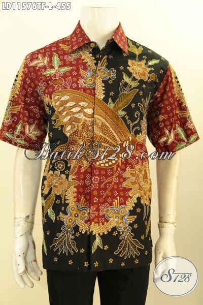Baju Batik Lengan Pendek Pria Motif Mewah Proses Tulis, Pakaian Batik Solo Nan Berkelas Bahan Halus Desain Keren, Menunjang Penampilan Makin Sempurna