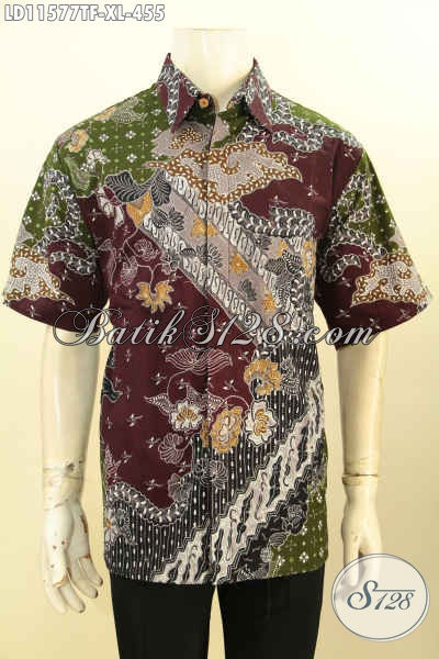 Baju Batik Pria Size XL Tulis Asli, Kemeja Batik Modis Lengan Pendek Motif Terbaru, Istimewa Untuk Kerja Dan Acara Resmi Tampil Gagah Menawan