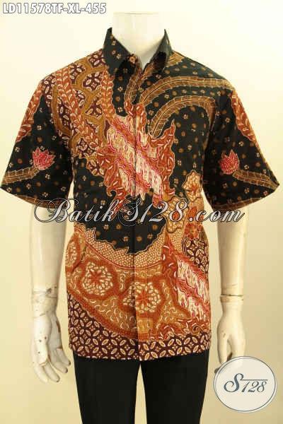 Baju Batik Kerja Pria Ukuran XL, Pakaian Batik Solo Halus Lengan Pendek Motif Terbaru Tulis Asli, Pilihan Tepat Tampil Keren Dan Berkelas Harga 455K