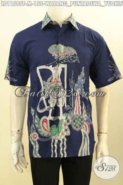 Hem Batik Santai Pria Muda Motif Wayang Yudhistira, Kemeja Batik Tulis Biru Halus Lengan Pendek Yang Membuat Penampilan Gagah Dan Tampan Hanya 155K