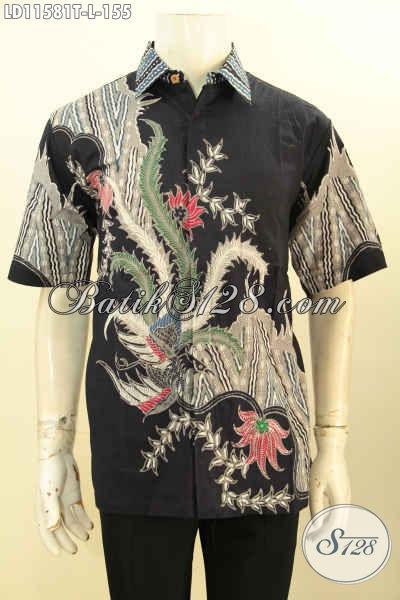 Batik Hem Pria Seragam Kerja Nan Modis, Pakaian Batik Warna Hitam Motif Trendy Size L Proses Tulis Model Lengan Pendek, Bikin Penampilan Lebih Gagah