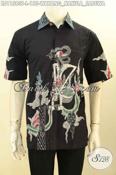 Baju Batik Casual Pria Motif Bagus Warna Elegan, Pakaian Batik Solo Asli Proses Tulis Model Lengan Pendek, Bisa Buat Acara Santai Maupun Resmi