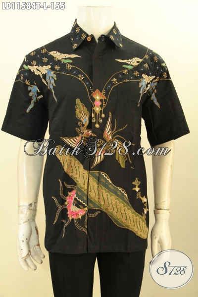 Baju Batik Pria Motif Keren, Pakaian Batik Solo Halus Lengan Pendek Warna Hitam Elegan Proses Tulis, Tampil Gagah Dan Tampan Hanya 100 Ribuan