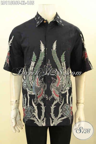 Batik Kemeja Pria Lengan Pendek Halus Warana Hitam, Busana Batik Kerja Elegan Motif Trendy Kwalitas Istimewa Proses Tulis, Pilhan Tepat Tampil Kece