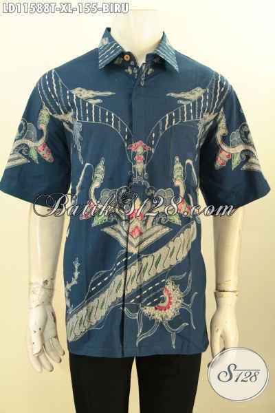 Sedia Kemeja Batik Lengan Pendek Biru Motif Trendy, Pakaian Batik Halus Proses Tulis Kwalitas Istimewa, Pas Banget Buat Kerja Kantoran Dan Kondangan