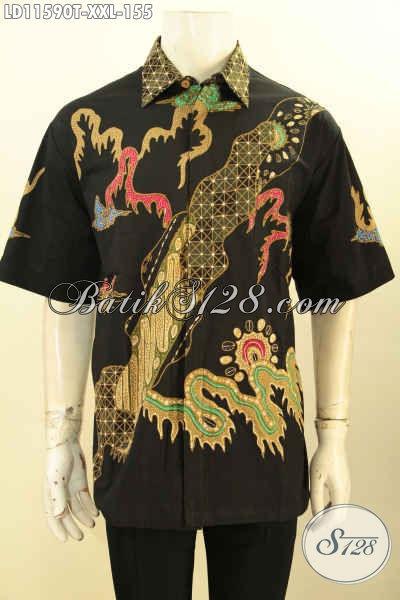 Kemeja Batik Solo Modis Halus Kwalitas Bagus Big Size, Hem Batik Pria Gemuk Motif Terkini Proses Tulis, Pas Buat Kerja Tampil Gagah