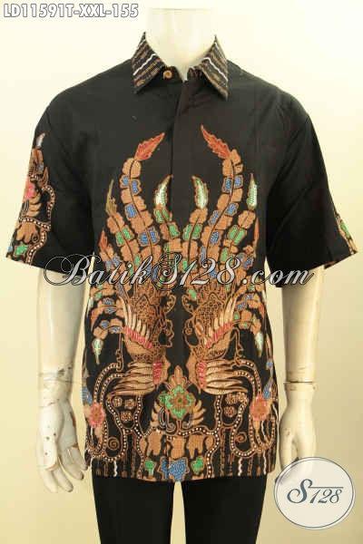 Model Pakaian Batik Pria Terkini, Busana Batik Solo Jawa Tengah Proses Tulis Model Lengan Pendek Ukuran Jumbo, Pria Gemuk Tampil Gagah Dan Trendy [LD11591T-XXL]
