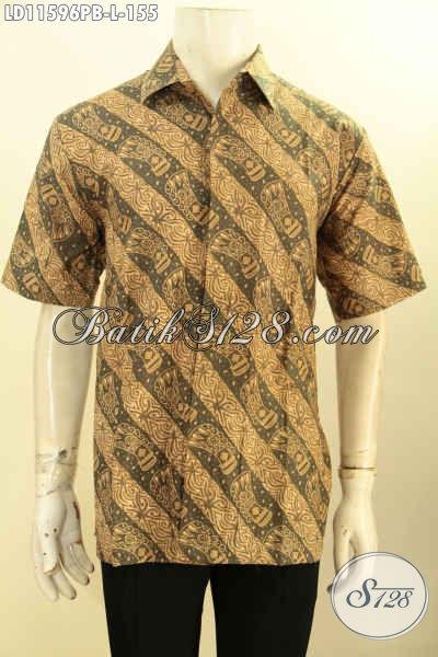 Hem Batik Solo Lengan Pendek Proses Printing, Busana Batik Elegan Motif Berkelas Dengan Sentuhan Klasik, Penampilan Gagah Dan Berwibawa