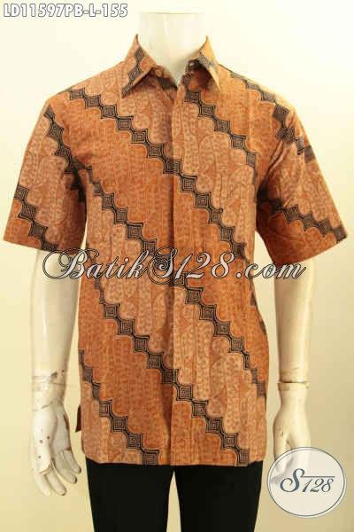 Baju Kemeja Batik Printing Motif Klasik, Pakaian Batik Lengan Pendek Halus Kwalitas Istimewa, Pas Buat Acara Resmi Dan Kondangan