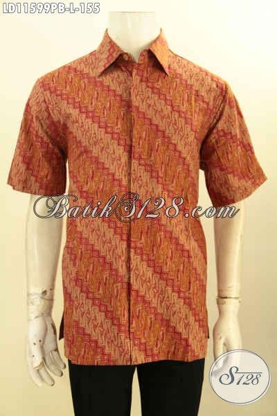 Pusat Baju Batik Solo Jawa Tengah Lengan Pendek, Pakaian Batik Modis Halus Bahan Adem Motif Klasik Elegan Printing Cabut, Pas Buat Kondangan
