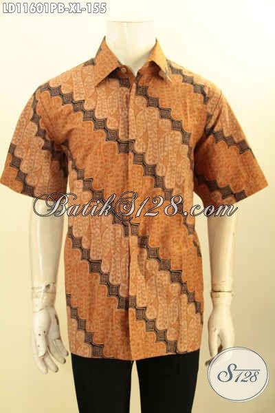 Baju Batik Hem Lengan Pendek Motif Parang Klasik Ukuran XL, Busana Batik Printing Cabut Khas Jawa Tengah, Pas Banget Untuk Kerja Atau Kondangan Tampil Elegan
