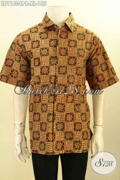 Baju Batik Solo Lengan Pendek Istimewa, Kemeja Batik Nan Elegan Bahan Adem Proses Printing Cabut Desain Elegan, Cocok Untuk Kondangan Dan Acara Resmi Lainnya