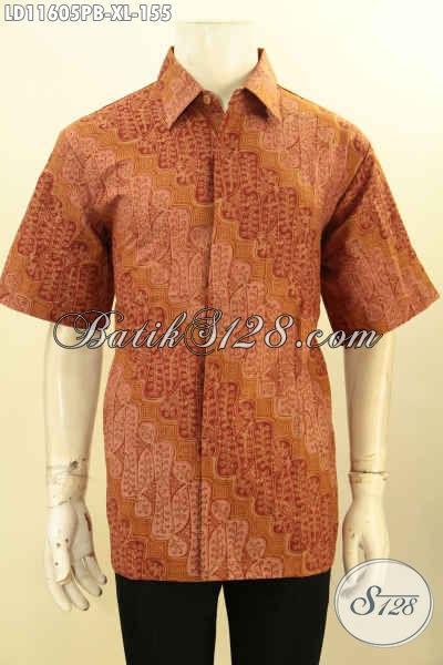 Sedia Baju Kerja Untuk Pria Dewasa, Kemeja Batik Halus Motif Elegan Klasik Model Lengan Pendek Proses Printing Cabut, Cocok Juga Untuk Kondangan [LD11605PB-XL]