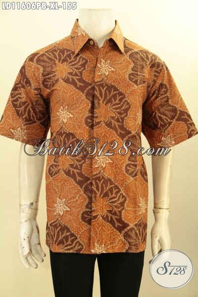 Baju Batik Solo Jawa Tengah Modern Lengan Pendek Bahan Halus Kwalitas Istimewa, Kemeja Batik Pria Terkini Motif Elegan Untuk Kerja Kantoran Tampil Menawan