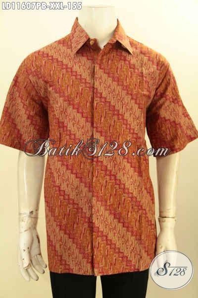 Baju Batik Pria Gemuk Motif Parang Klasik, Hem Batik Lengan Pendek Printing Cabut Bahan Adem Kwalitas Bagus Desain Terkini, Penampilan Lebih Berkelas