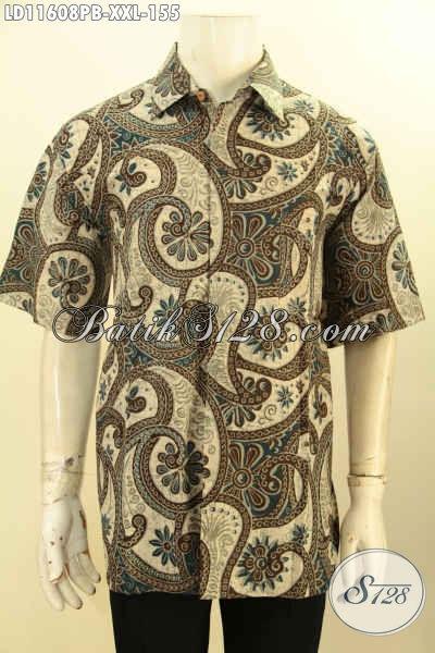 Hem Batik Pria Branded Harga Terjangkau, Busana Batik Solo Halus Lengan Pendek Motif Elegan Proses Printing Cabut Untuk Penampilan Gagah Elegan Harga 155K
