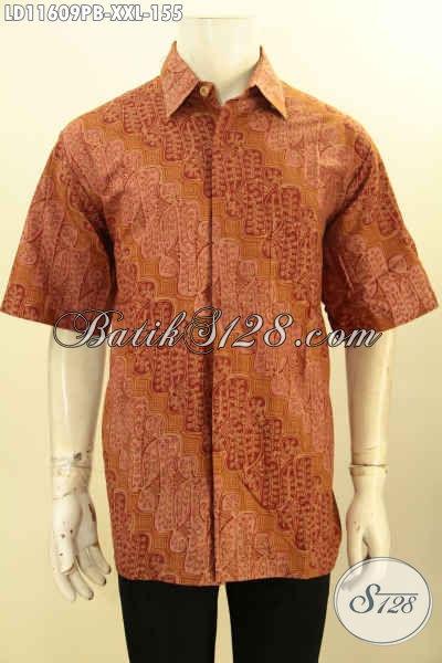 Baju Kemeja Batik Pria Lengan Pendek Solo Jawa Tengah, Busana Batik Elegan Motif Klasik Spesial Buat Yang Berbadan Gemuk Penampilan Terlihat Berkelas