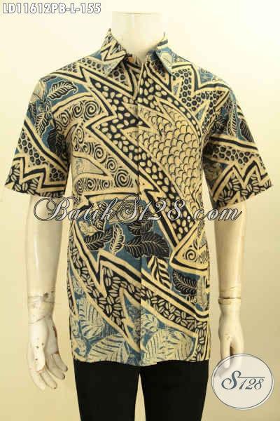 Jual Kemeja Batik Kerja Pria Lengan Pendek Halus, Baju Batik Modis Motif Istimewa Proses Printing Cabut Buatan Solo Asli, Menunjang Penampailan Lebih Gaya