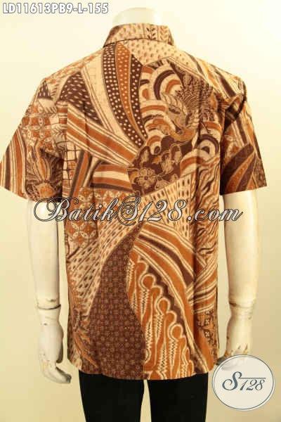 Produk Busana Batik Pria Lengan Pendek, Pakaian Batik Modis Tren 2019 Motif Bagus Dan Elegan Proses Printing Cabut, Bisa Untuk Santai Dan Resmi