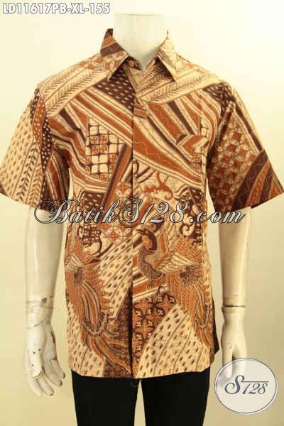Baju Batik Kerja Cowok Lengan Pendek Halus Size XL, Pakaian Batik Halus Motif Terbaru Nan Berkelas Proses Printing Cabut Untuk Penampilan Gagah Dan Tampan