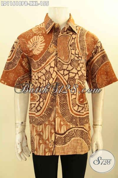 Baju Batik Pria Modern Motif Bagus, Kemeja Lengan Pendek Printing Cabut Kwalitas Istimewa Spesial Buat Lelaki Gemuk, Bisa Buat Ngantor Atau Acara Resmi