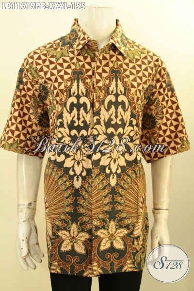 Baju Batik Pria Desain Modern, Busana Batik Elegan Motif Bagus Lengan Pendek Proses Printing Cabut, Pakaian Batik Pria Gemuk Nan Istimewa, Bikin Penampilan Terlihat Gagah Menawan [LD11619PB-XXXL]