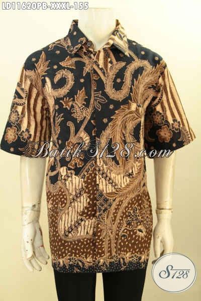 Baju Batik Bagus Murah Lengan Pendek Ukuran Jumbo, Hem Batik Pria Gemuk XXXL Model Terbaru Bahan Halus Motif Elegan Printing Cabut Hanya 155K