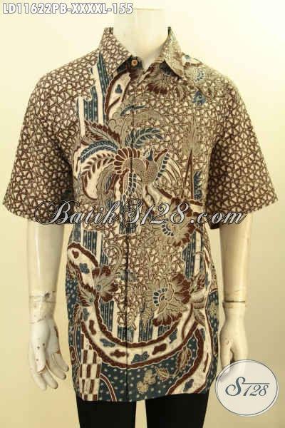 Batik Kerja Nan Istimewa Motif Elegan Klasik, Kemeja Batik Solo Asli Lengan Pendek Proses Printing Cabut, Pria Gemuk Terlihat Tampan Dan Langsing