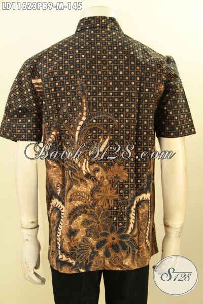 Batik Hem Elegan Size M, Baju Batik Motif Klasik Printing Cabut Lengan Pendek Halus Kwalitas Istimewa Yang Bikin Pria Terlihat Gagah Tampan